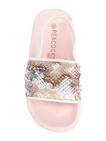 Younger Girls Pink Flip Sequin Slider Sandals