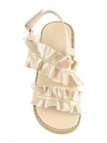 Older Girls Gold Ruffle Sandals