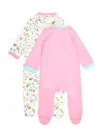 Baby Girls 2pk Pink Animal Sleepsuits