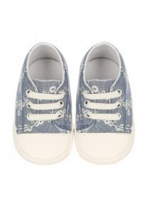 Baby Girls Blue Floral Trainers