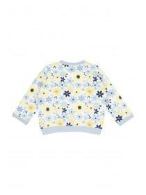 Baby Girls Blue Floral Bomber Jacket