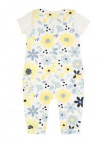 Baby Girls Yellow and Blue Dungaree Set