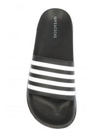 Mens Monochrome Stripe Slider Sandals