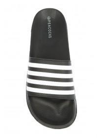 Mens Monochrome Stripe Slider Sandals