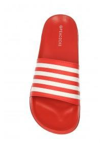 Mens Red Stripe Slider Sandals