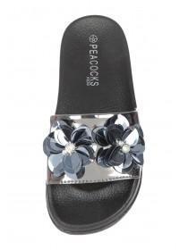 Older Girls Black Flower Slider Sandals