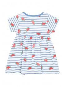 Baby Girls Blue Stripe Dress and Headband Set