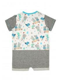 Baby Boys Grey Animal Romper and Hat Set