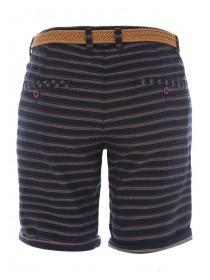 Mens Navy Striped Belted Chino Shorts