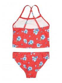 Younger Girls Red Floral Tankini Set