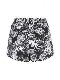 Womens Monochrome Leaf Crochet Trim Shorts