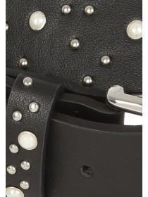 Womens Black Pearl and Stud Belt