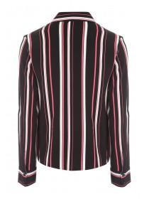 Womens Black and Pink Stripe Tie Front Shirt