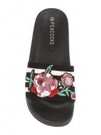 Womens Black Embroidered Slider Sandals