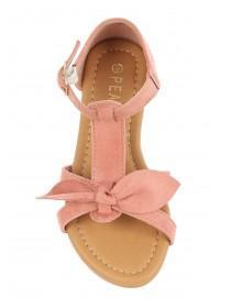 Younger Girls Pink Bow Sandals