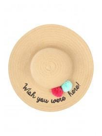 Older Girls Tan Slogan Straw Hat