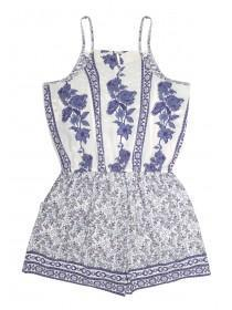 Older Girls Blue Tile Playsuit