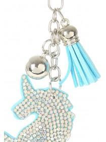 Womens Blue Diamante Unicorn Keyring