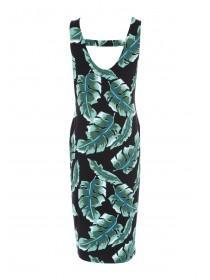 Womens Leaf Print Bar Back Midi Dress