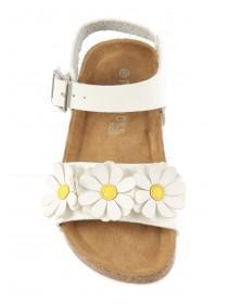 Younger Girls White Daisy Sandals