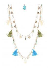 Womens Gold Layered Tassel Necklace