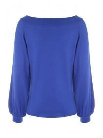 Womens Cobalt Blue Balloon Sleeve Jumper