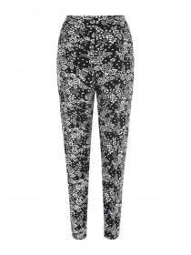 Womens Monochrome Floral Print Trousers