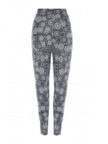 Womens Navy Tile Print Trousers