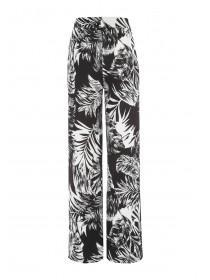 Womens Monochrome Palm Print Palazzo Trousers