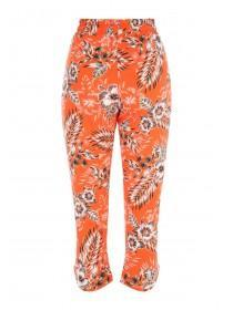 Womens Orange Floral Crop Trousers