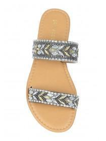 Womens Tan Double Band Embellished Mule Sandals