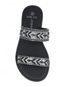 Womens Black Wide Fit Gem Mule Sandals