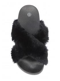 Womens Black Cross Over Fur Sliders