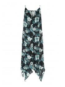 Womens Blue Tropical Hanky Hem Dress