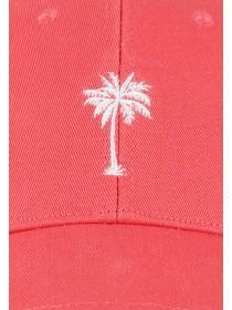 Womens Coral Pink Palm Tree Cap