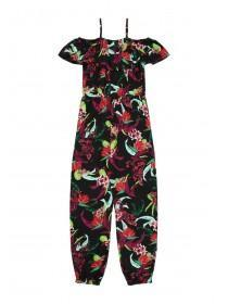 Older Girls Black Floral Jumpsuit