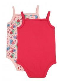 Baby Girls 2pk Pink Elephant Vest Bodysuits