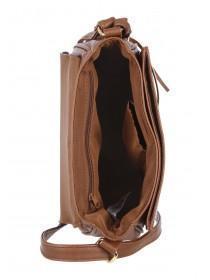 Womens Tan Tassel Saddle Bag