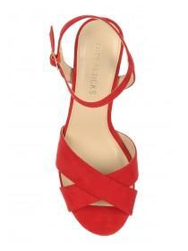 Womens Red Block Heel Sandals