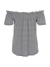 Womens Monochrome Stripe Bardot Top