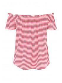 Womens Pink Stripe Bardot Top