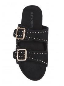 Womens Black Stud Sandals