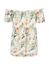 Womens White Floral Bardot Top