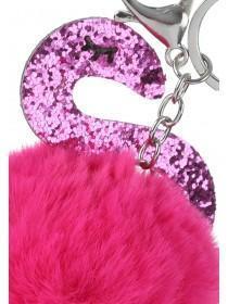 Womens Pink Pom Flamingo Keyring