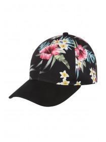 Womens Black Tropical Print Cap