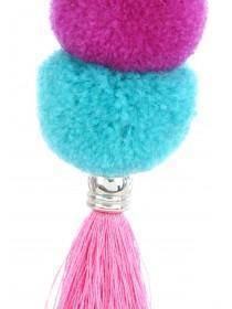 Womens Multicolour Pom Keyring
