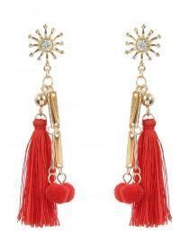 Womens Red Tassel Pom Earrings