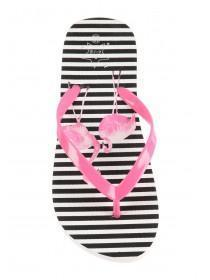 Older Girls Monochrome Flamingo Flip Flops