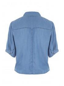 Womens Blue Tencel Tie Front Shirt