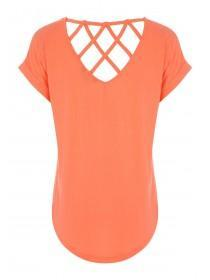 Womens Coral Lattice Back T-Shirt